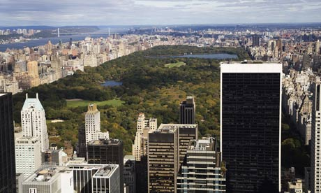 Several high-volume roadways cut through Central Park. Photograph: Murdo Macleod/Murdo Macleod